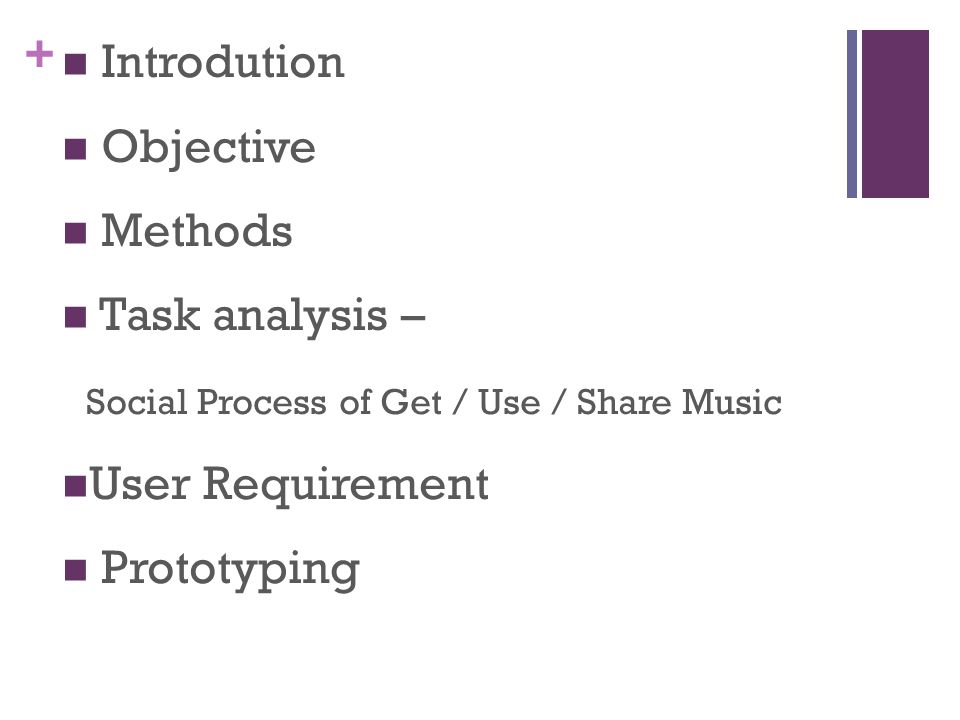 + Introdution Objective Methods Task analysis – Social Process of Get / Use / Share Music User Requirement Prototyping
