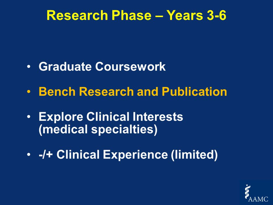 Graduate Coursework Bench Research and Publication Explore Clinical Interests (medical specialties) -/+ Clinical Experience (limited) Research Phase – Years 3-6