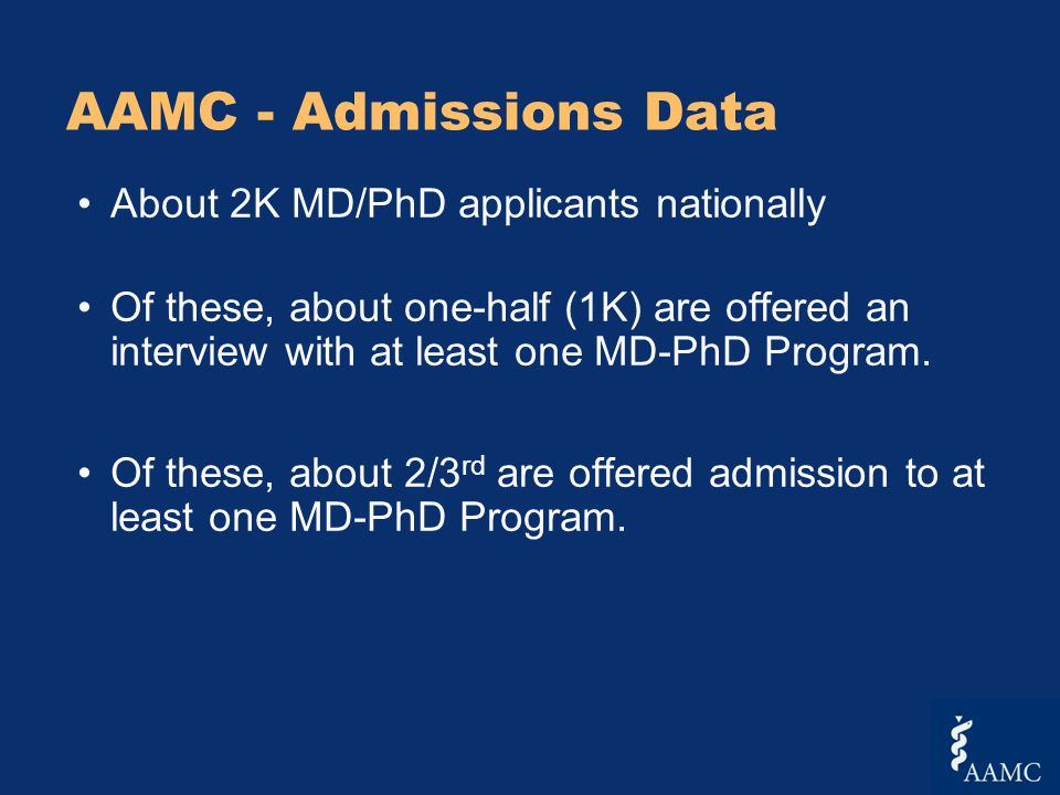 AAMC - Admissions Data About 2K MD/PhD applicants nationally Of these, about one-half (1K) are offered an interview with at least one MD-PhD Program.