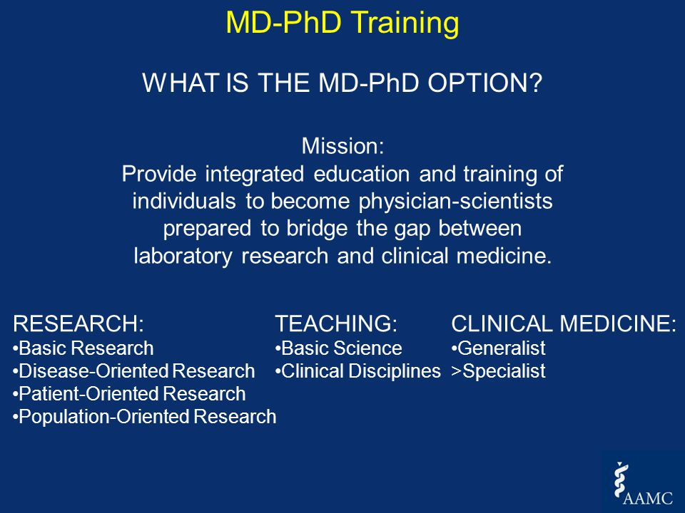 Mission: Provide integrated education and training of individuals to become physician-scientists prepared to bridge the gap between laboratory research and clinical medicine.