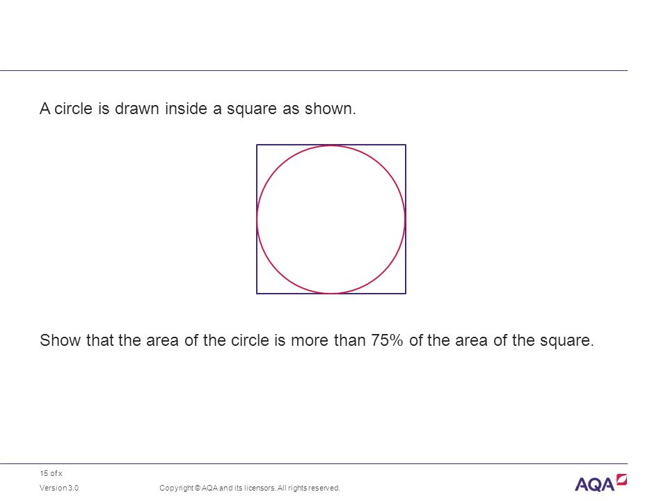 15 of x A circle is drawn inside a square as shown.