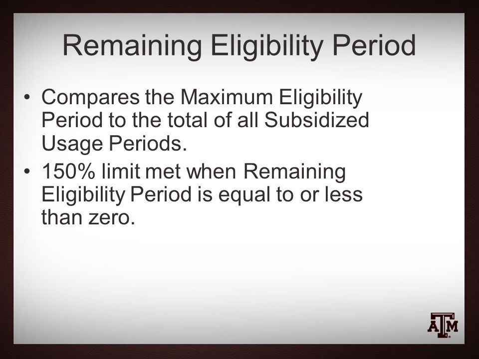 Remaining Eligibility Period
