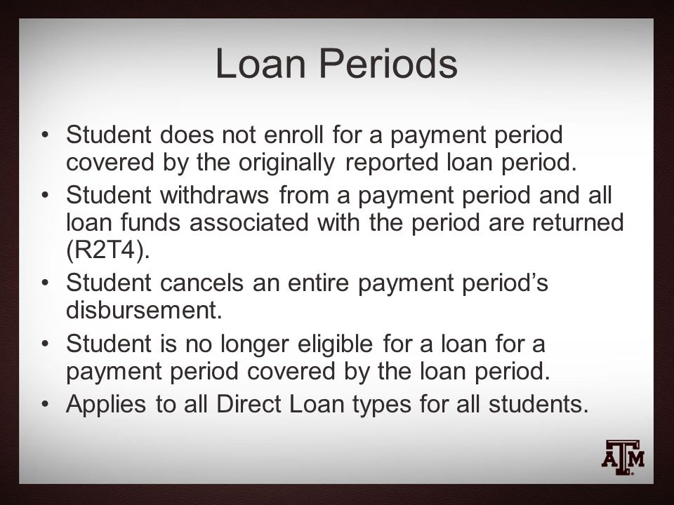 Loan Periods Student does not enroll for a payment period covered by the originally reported loan period.