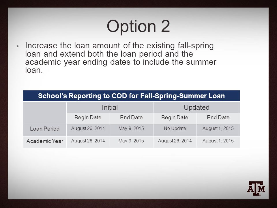 Option 2 School's Reporting to COD for Fall-Spring-Summer Loan InitialUpdated Begin DateEnd DateBegin DateEnd Date Loan Period August 26, 2014May 9, 2015No UpdateAugust 1, 2015 Academic Year August 26, 2014May 9, 2015August 26, 2014August 1, 2015 Increase the loan amount of the existing fall-spring loan and extend both the loan period and the academic year ending dates to include the summer loan.