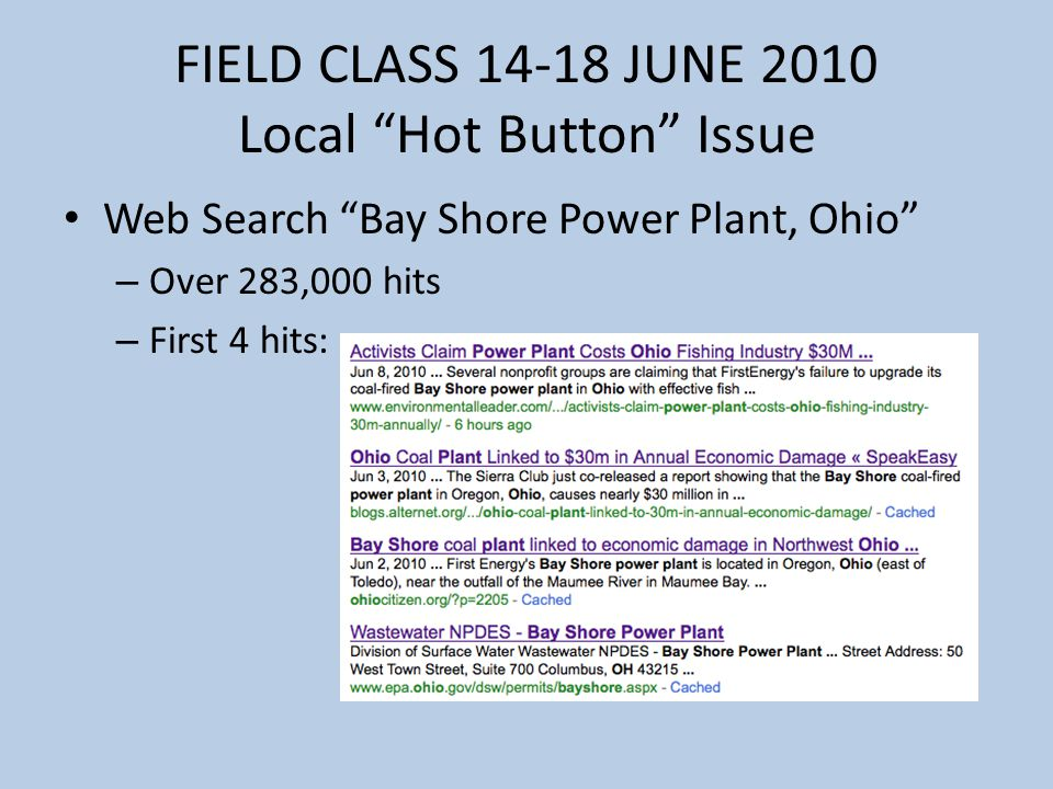 FIELD CLASS 14-18 JUNE 2010 Local Hot Button Issue Web Search Bay Shore Power Plant, Ohio – Over 283,000 hits – First 4 hits: