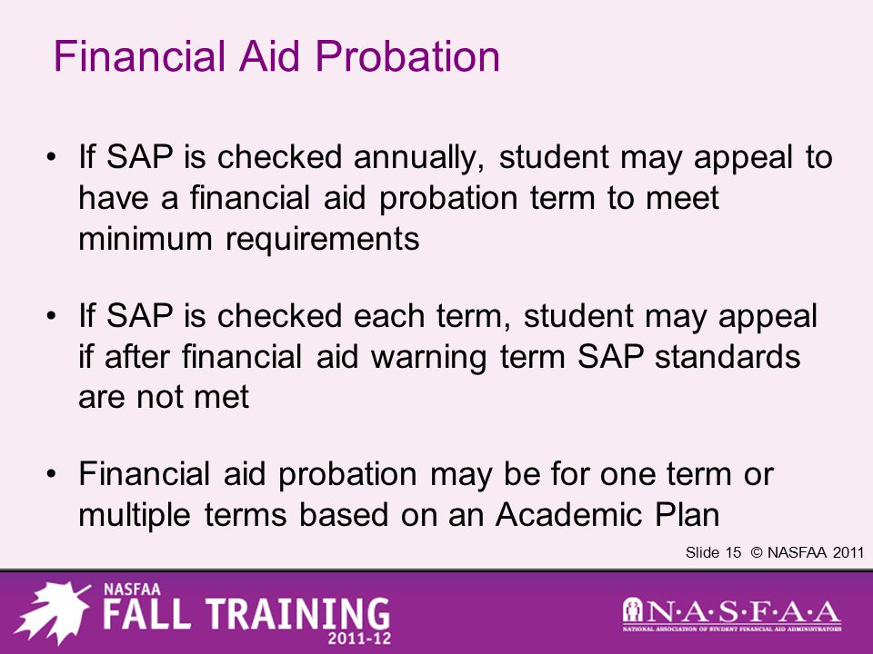 Slide 15 © NASFAA 2011 Financial Aid Probation If SAP is checked annually, student may appeal to have a financial aid probation term to meet minimum requirements If SAP is checked each term, student may appeal if after financial aid warning term SAP standards are not met Financial aid probation may be for one term or multiple terms based on an Academic Plan