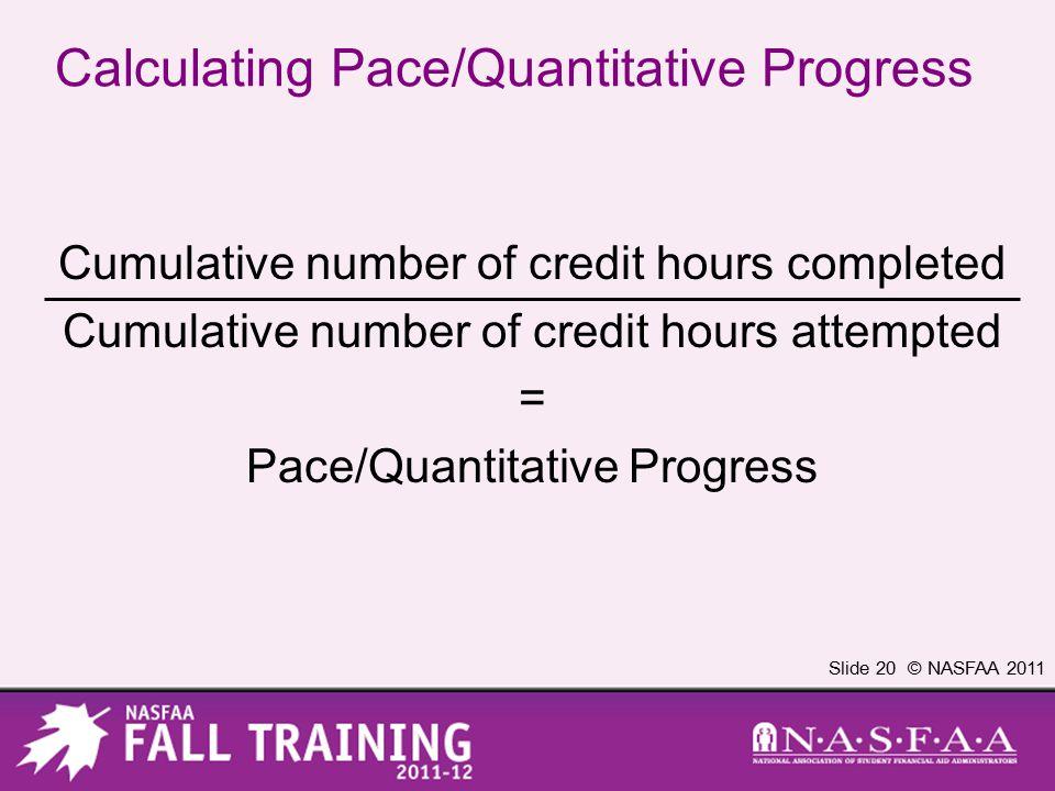 Slide 20 © NASFAA 2011 Calculating Pace/Quantitative Progress Cumulative number of credit hours completed Cumulative number of credit hours attempted = Pace/Quantitative Progress