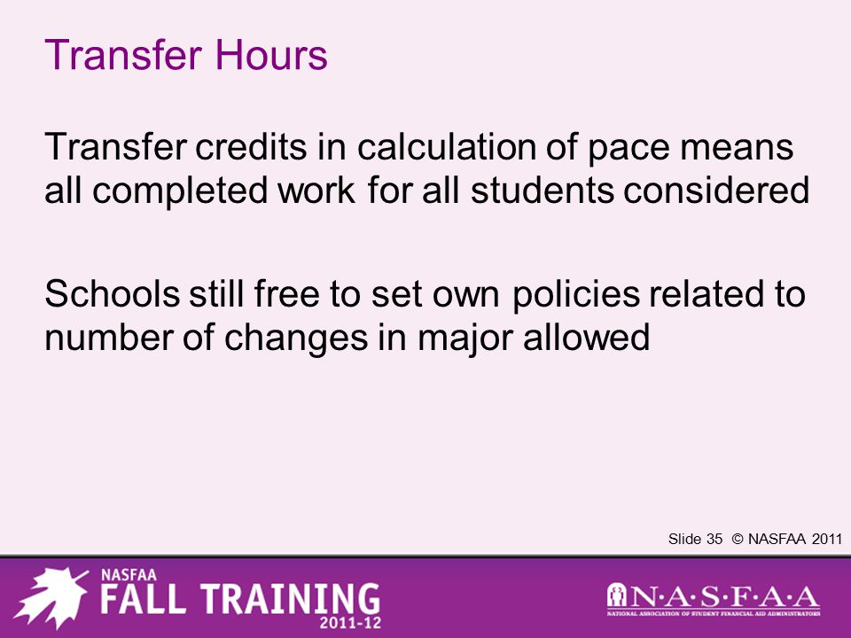 Slide 35 © NASFAA 2011 Transfer Hours Transfer credits in calculation of pace means all completed work for all students considered Schools still free
