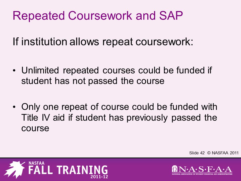 Slide 42 © NASFAA 2011 Repeated Coursework and SAP If institution allows repeat coursework: Unlimited repeated courses could be funded if student has not passed the course Only one repeat of course could be funded with Title IV aid if student has previously passed the course