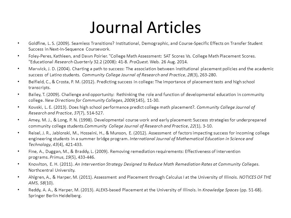 Journal Articles Goldfine, L. S. (2009). Seamless Transitions.