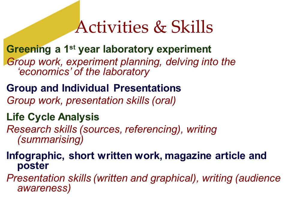 Activities & Skills Greening a 1 st year laboratory experiment Group work, experiment planning, delving into the 'economics' of the laboratory Group a