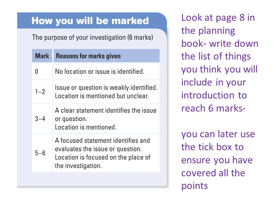 Look at page 8 in the planning book- write down the list of things you think you will include in your introduction to reach 6 marks- you can later use the tick box to ensure you have covered all the points