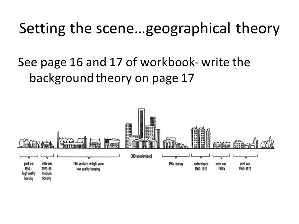 Setting the scene…geographical theory See page 16 and 17 of workbook- write the background theory on page 17