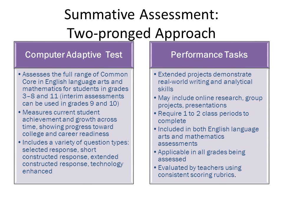 Summative Assessment: Two-pronged Approach Computer Adaptive Test Assesses the full range of Common Core in English language arts and mathematics for