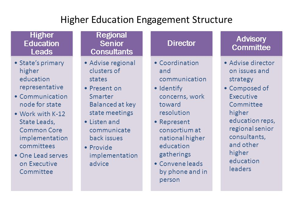 Higher Education Engagement Structure Higher Education Leads State's primary higher education representative Communication node for state Work with K-