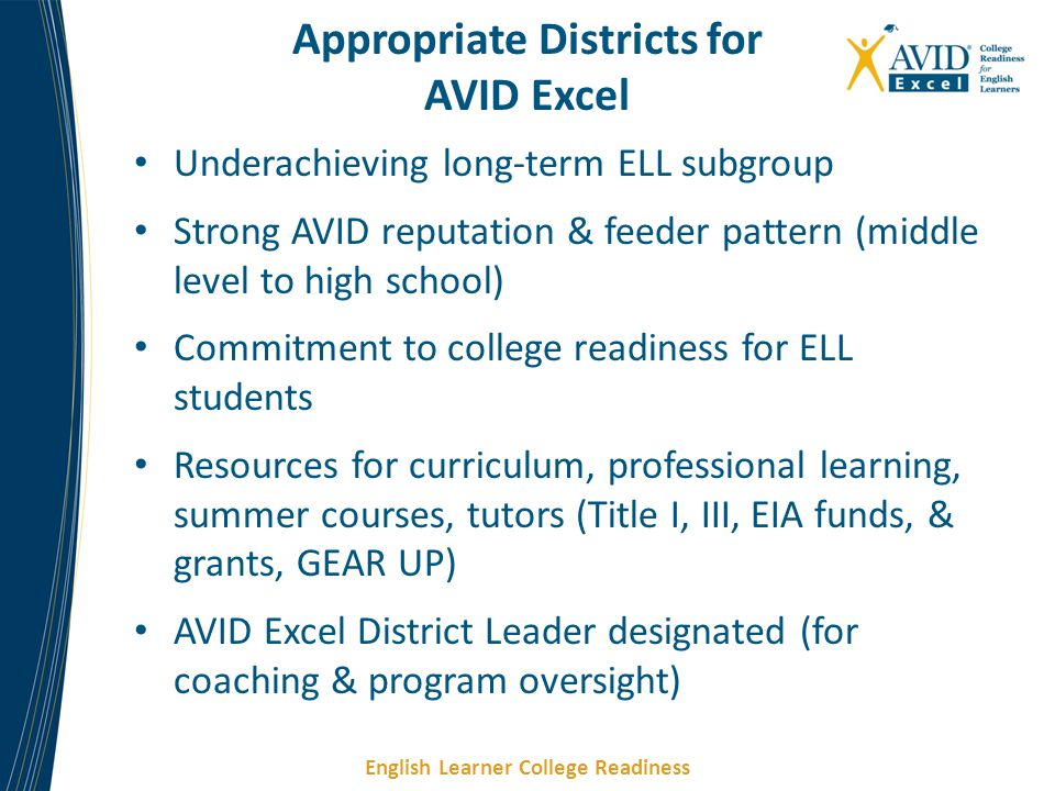 English Learner College Readiness Underachieving long-term ELL subgroup Strong AVID reputation & feeder pattern (middle level to high school) Commitme
