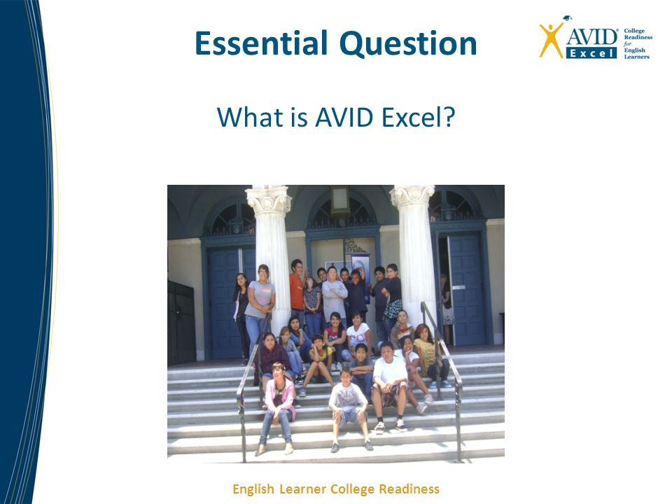 English Learner College Readiness Essential Question What is AVID Excel?