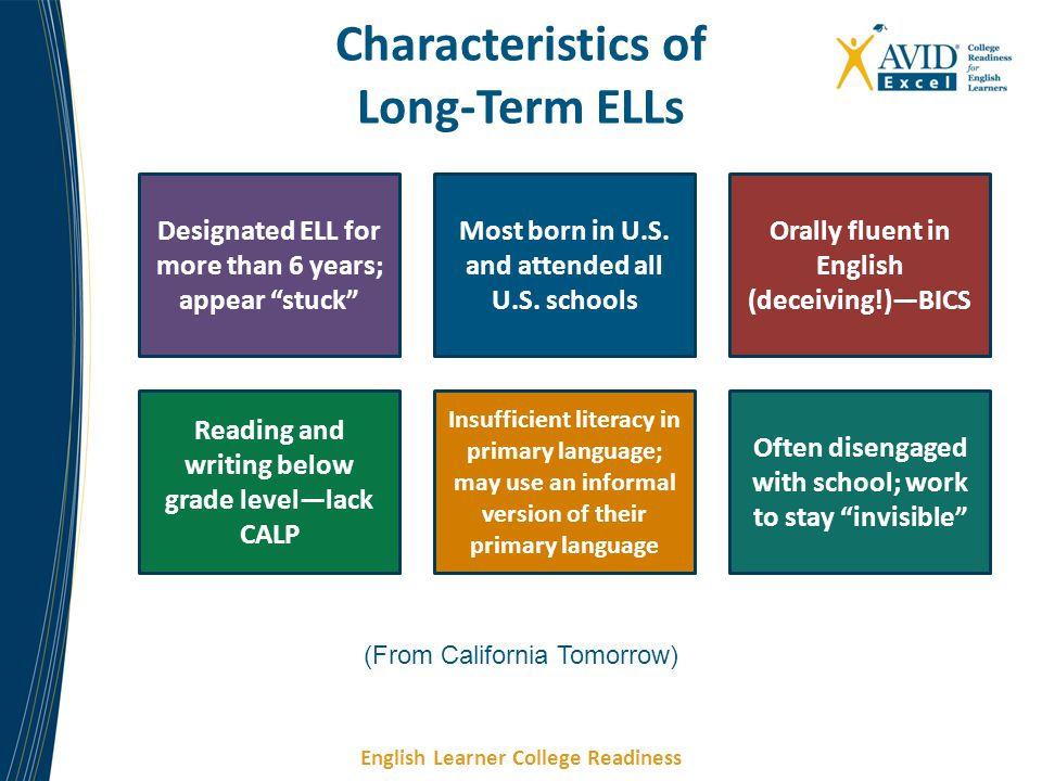"English Learner College Readiness Characteristics of Long-Term ELLs Designated ELL for more than 6 years; appear ""stuck"" Most born in U.S. and attende"