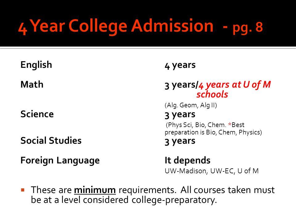 English4 years Math3 years/4 years at U of M schools (Alg. Geom, Alg II) Science3 years (Phys Sci, Bio, Chem. *Best preparation is Bio, Chem, Physics)