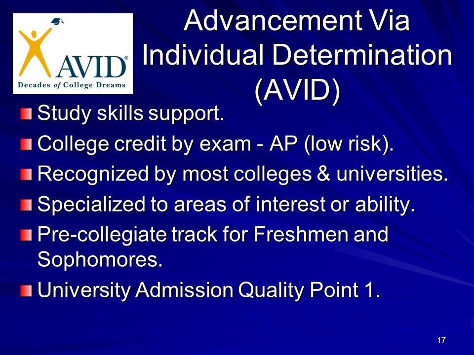 17 Advancement Via Individual Determination (AVID) Study skills support.