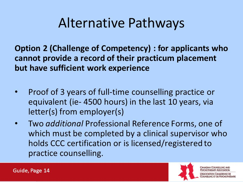 Alternative Pathways Option 2 (Challenge of Competency) : for applicants who cannot provide a record of their practicum placement but have sufficient
