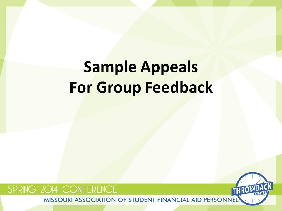 Sample Appeals For Group Feedback