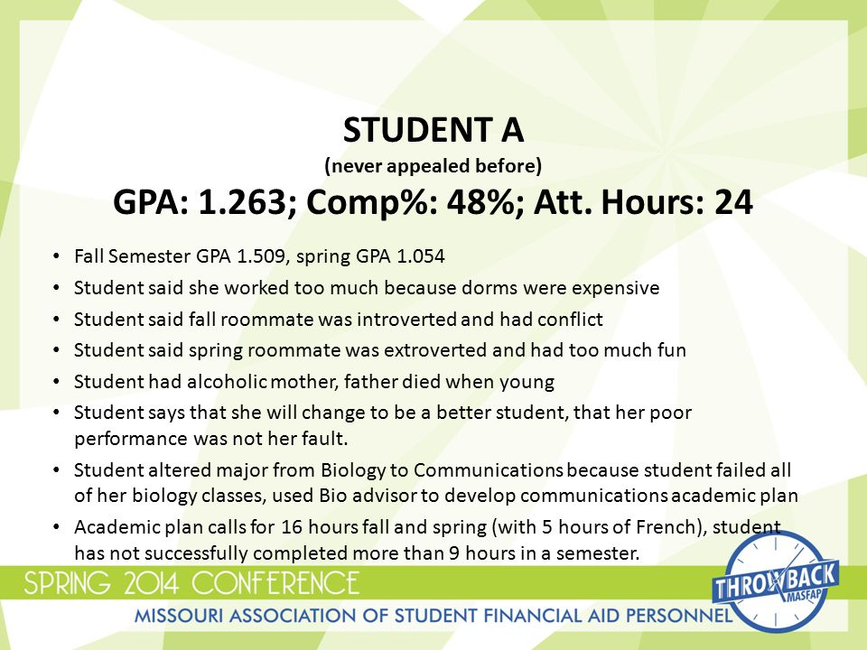 STUDENT A (never appealed before) GPA: 1.263; Comp%: 48%; Att.