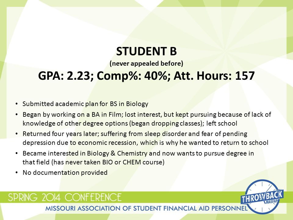 STUDENT B (never appealed before) GPA: 2.23; Comp%: 40%; Att.