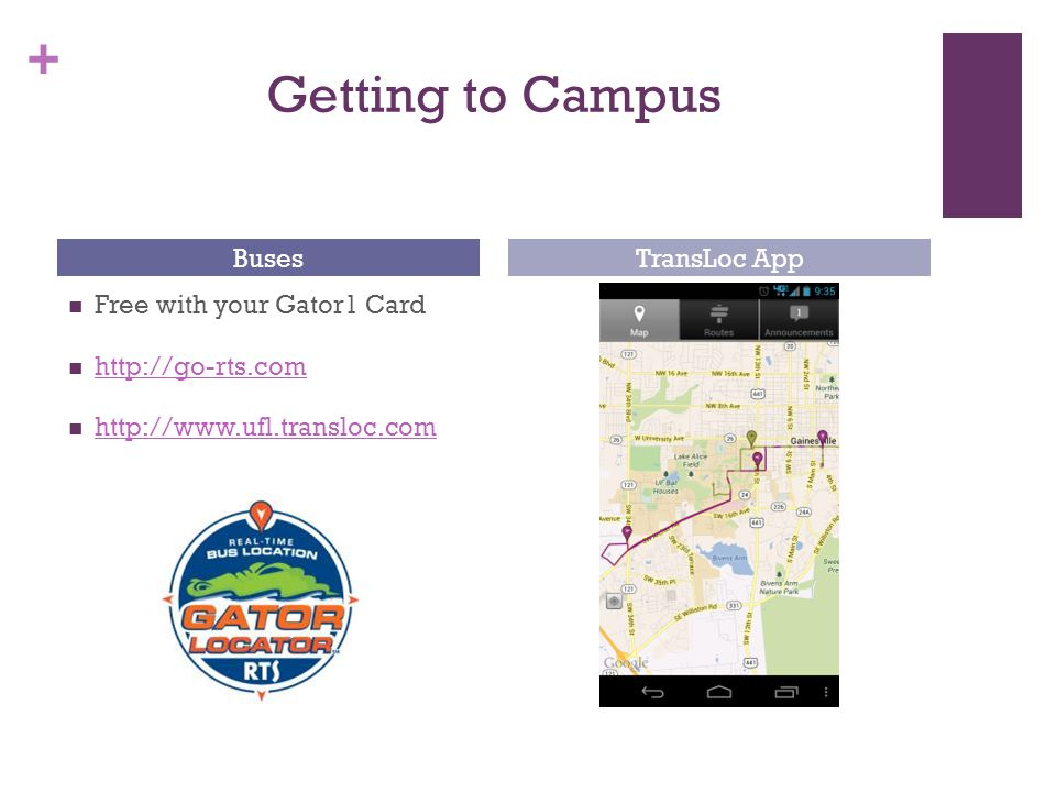 + Getting to Campus Free with your Gator1 Card http://go-rts.com http://www.ufl.transloc.com BusesTransLoc App