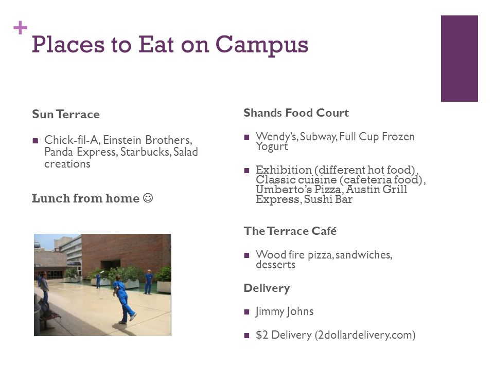 + Places to Eat on Campus Sun Terrace Chick-fil-A, Einstein Brothers, Panda Express, Starbucks, Salad creations Lunch from home Shands Food Court Wendy's, Subway, Full Cup Frozen Yogurt Exhibition (different hot food), Classic cuisine (cafeteria food), Umberto's Pizza, Austin Grill Express, Sushi Bar The Terrace Café Wood fire pizza, sandwiches, desserts Delivery Jimmy Johns $2 Delivery (2dollardelivery.com)