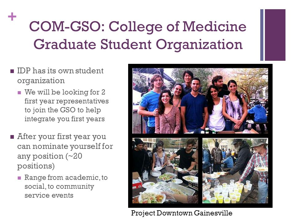 + COM-GSO: College of Medicine Graduate Student Organization IDP has its own student organization We will be looking for 2 first year representatives to join the GSO to help integrate you first years After your first year you can nominate yourself for any position (~20 positions) Range from academic, to social, to community service events Project Downtown Gainesville