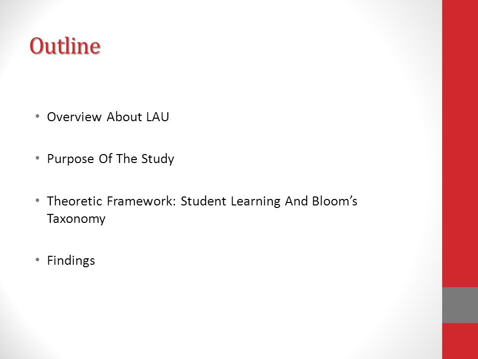 Outline Overview About LAU Purpose Of The Study Theoretic Framework: Student Learning And Bloom's Taxonomy Findings