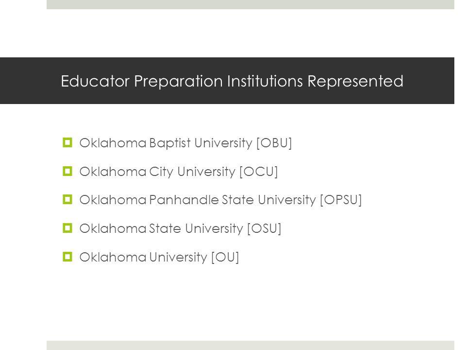 Educator Preparation Institutions Represented  Oklahoma Baptist University [OBU]  Oklahoma City University [OCU]  Oklahoma Panhandle State University [OPSU]  Oklahoma State University [OSU]  Oklahoma University [OU]