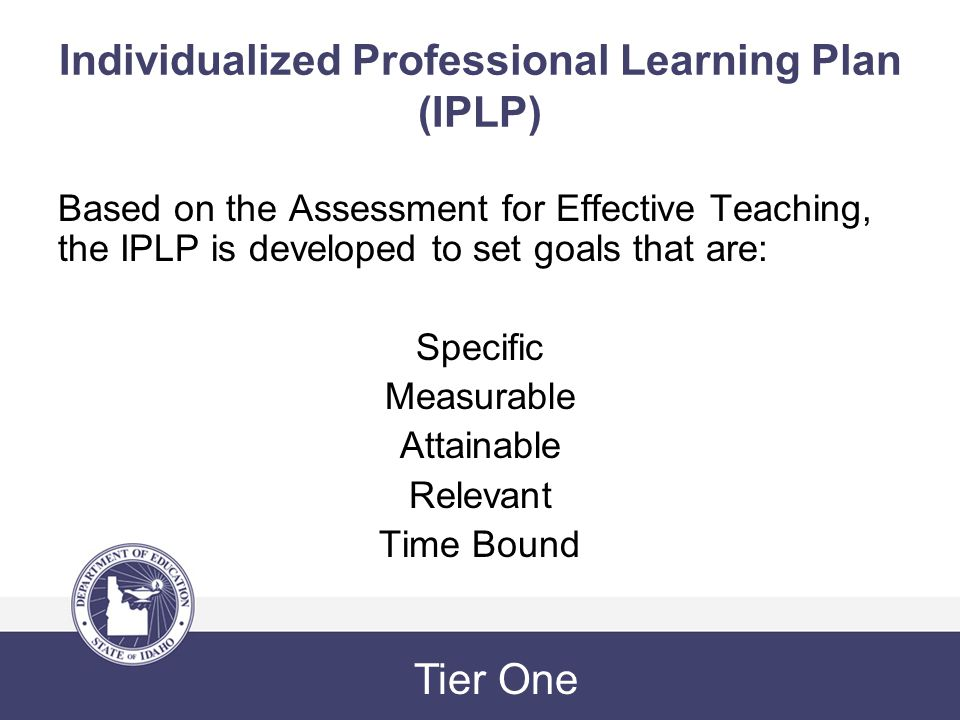 Individualized Professional Learning Plan (IPLP) Based on the Assessment for Effective Teaching, the IPLP is developed to set goals that are: Specific Measurable Attainable Relevant Time Bound Tier One