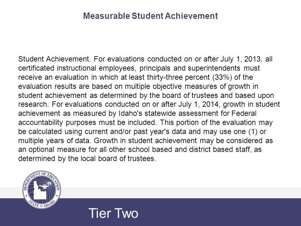 Measurable Student Achievement Student Achievement.