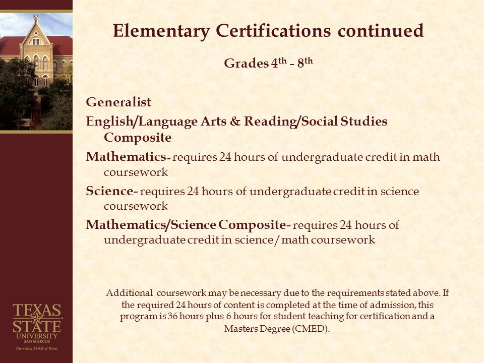 Secondary Certification Coursework requirements - All certifications require 15 credit hours of Pedagogy and Professional Responsibility coursework plus student teaching for certification.