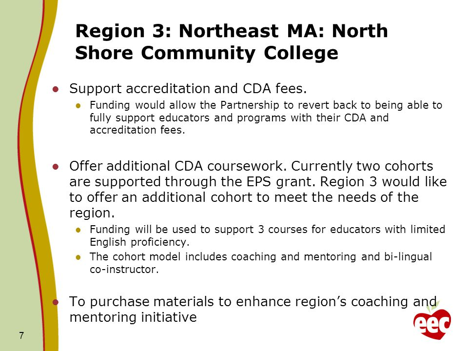 Region 3: Northeast MA: North Shore Community College Support accreditation and CDA fees.