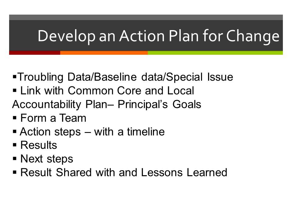 Develop an Action Plan for Change  Troubling Data/Baseline data/Special Issue  Link with Common Core and Local Accountability Plan– Principal's Goal