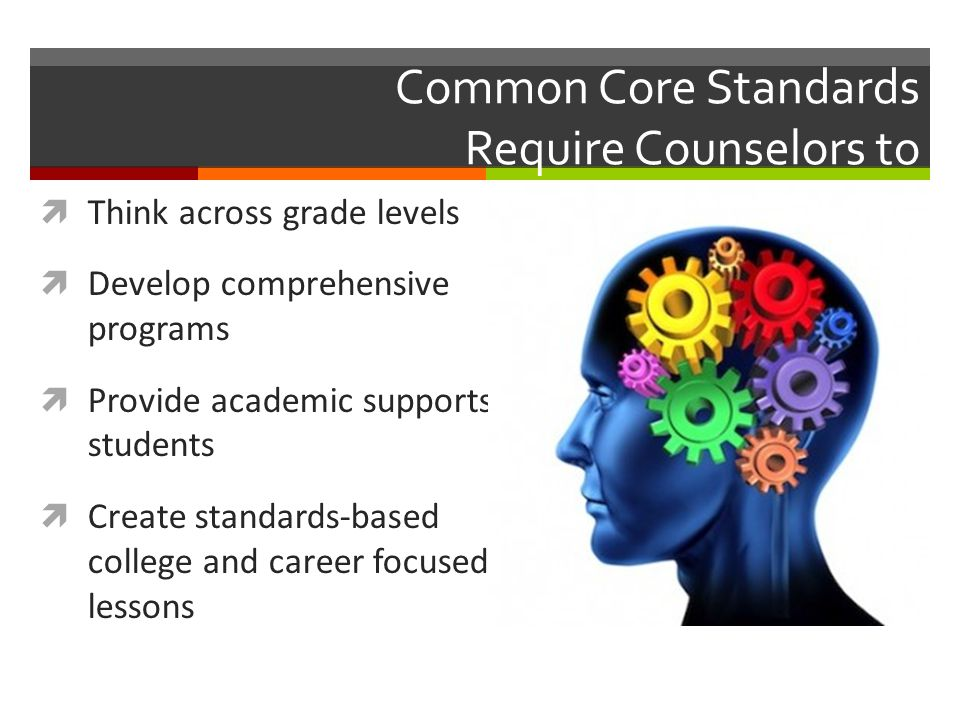 Common Core Standards Require Counselors to  Think across grade levels  Develop comprehensive programs  Provide academic supports to students  Cre