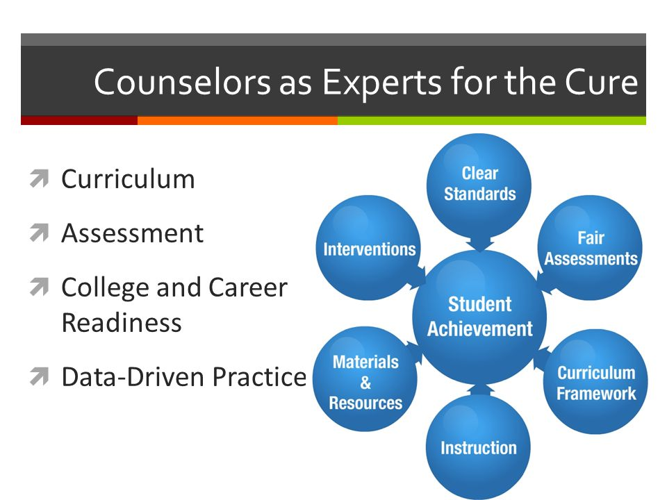 Counselors as Experts for the Cure  Curriculum  Assessment  College and Career Readiness  Data-Driven Practice