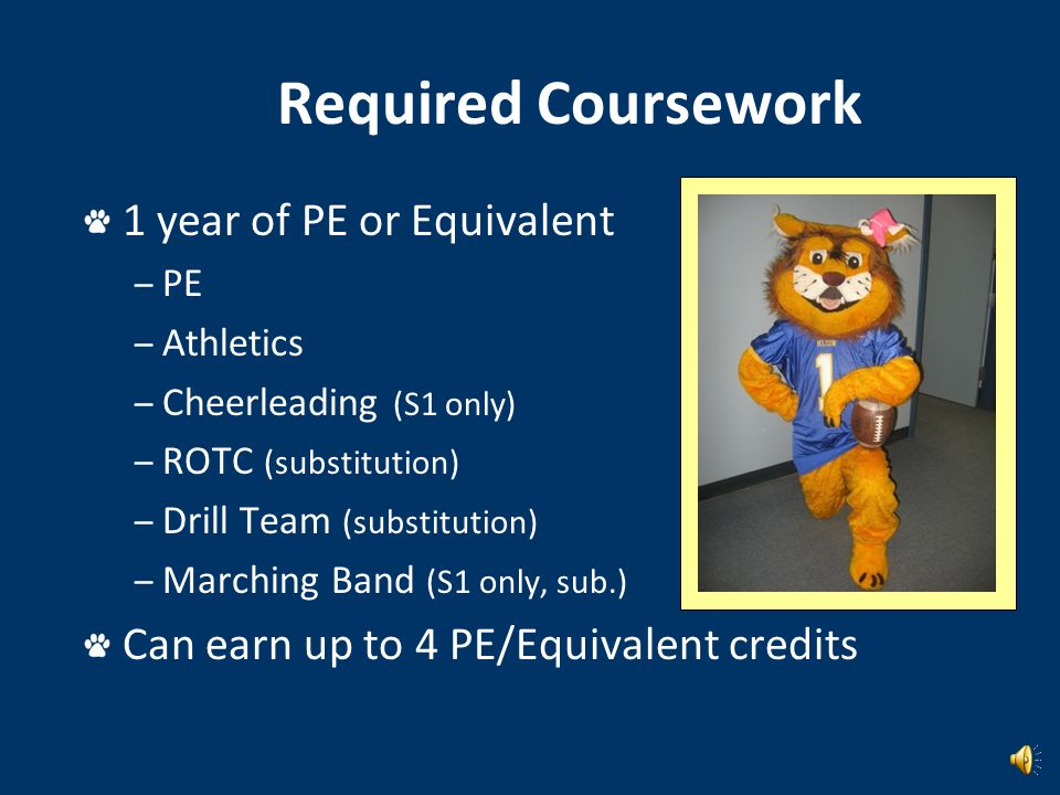 Required Coursework 1 year of Fine Art: – Art – Band – Orchestra – Choir – Theater – Dance – Color Guard – Floral Design