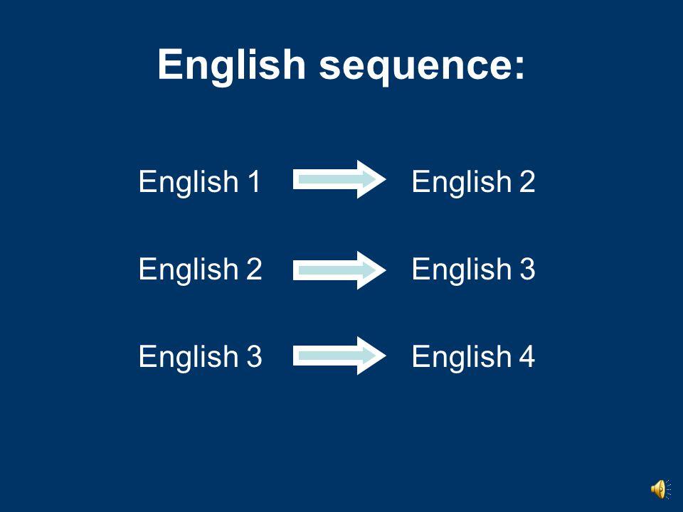 English sequence: English 1English 2 English 2English 3 English 3English 4