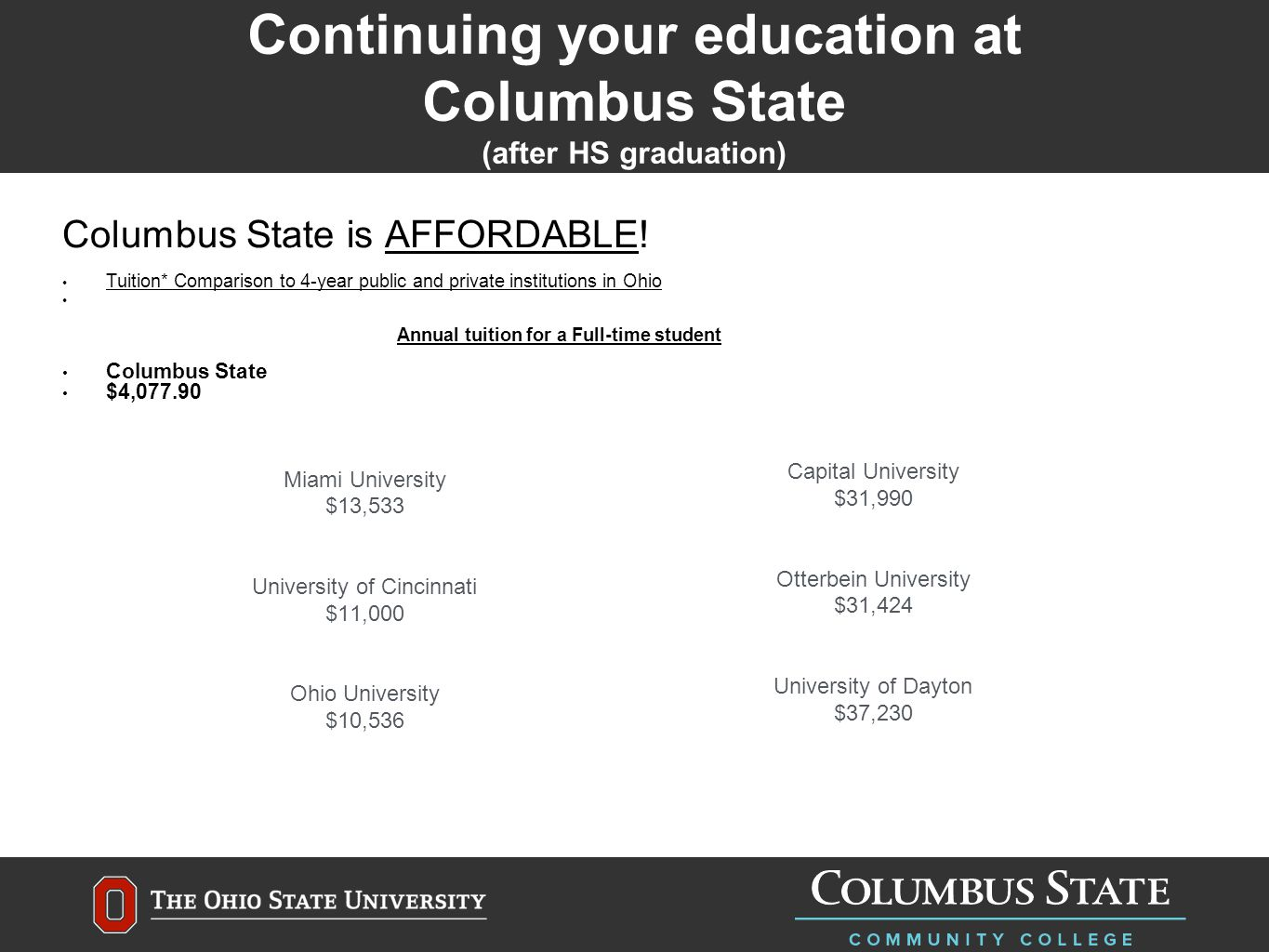 Continuing your education at Columbus State (after HS graduation) Columbus State is AFFORDABLE.