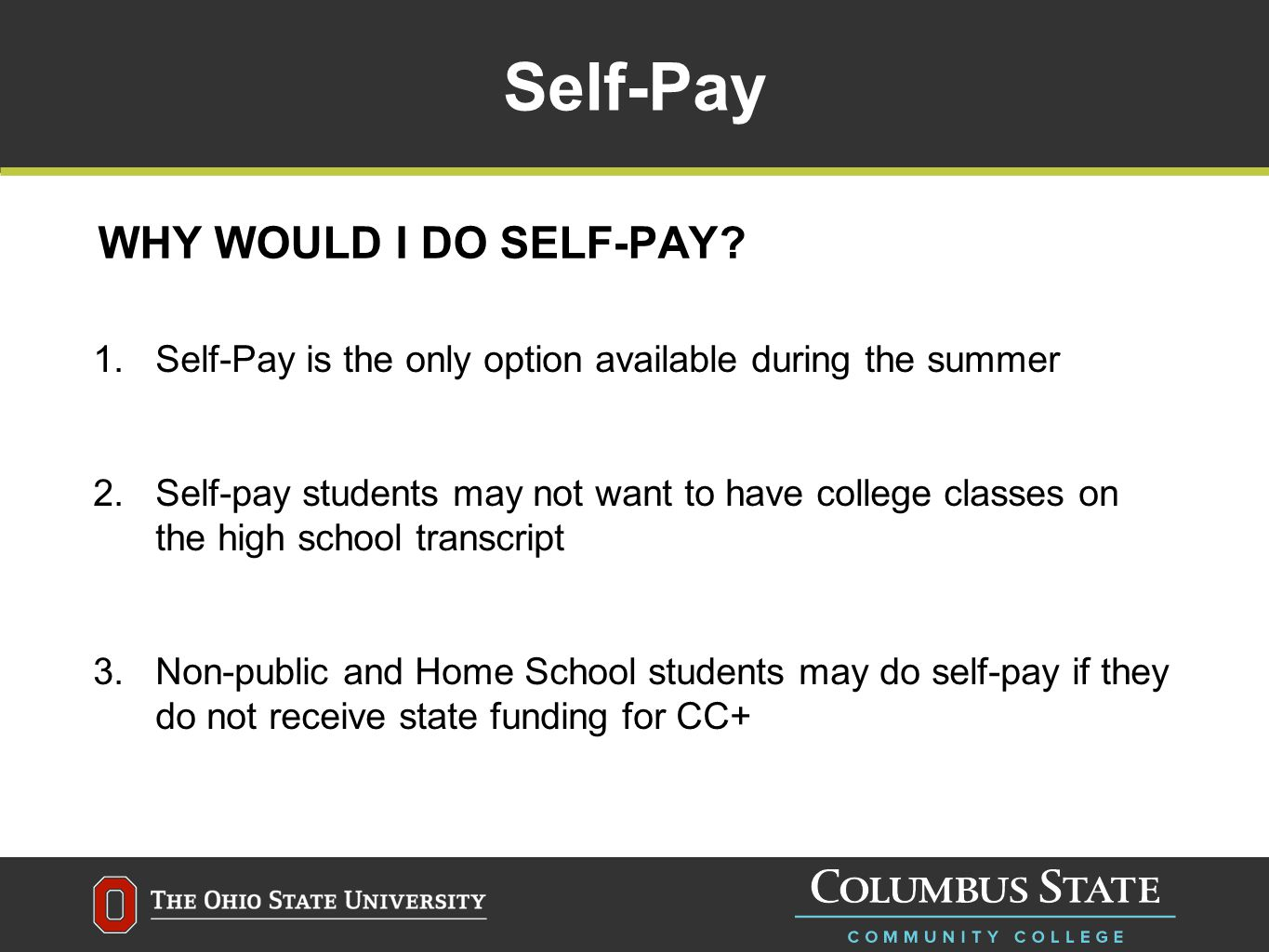 What does CC+ Cover.CC+ students will have costs paid by the school district.