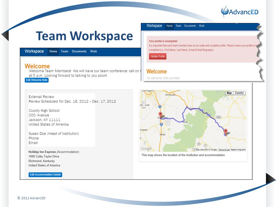 Team Workspace External Review Review Scheduled for Dec.