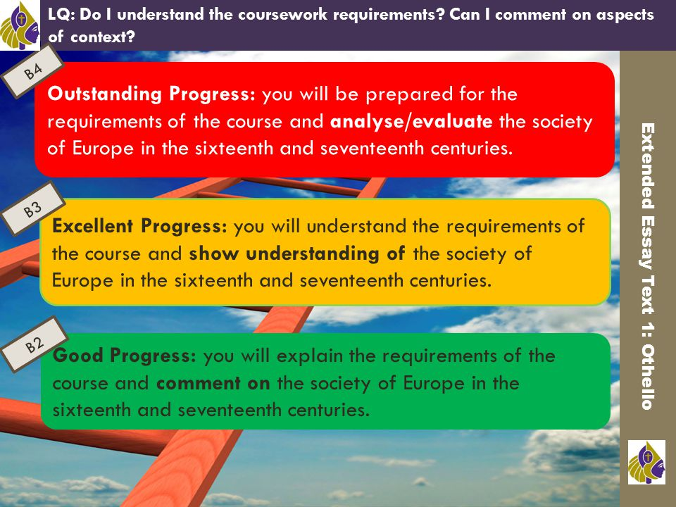 Outstanding Progress: you will be prepared for the requirements of the course and analyse/evaluate the society of Europe in the sixteenth and seventeenth centuries.