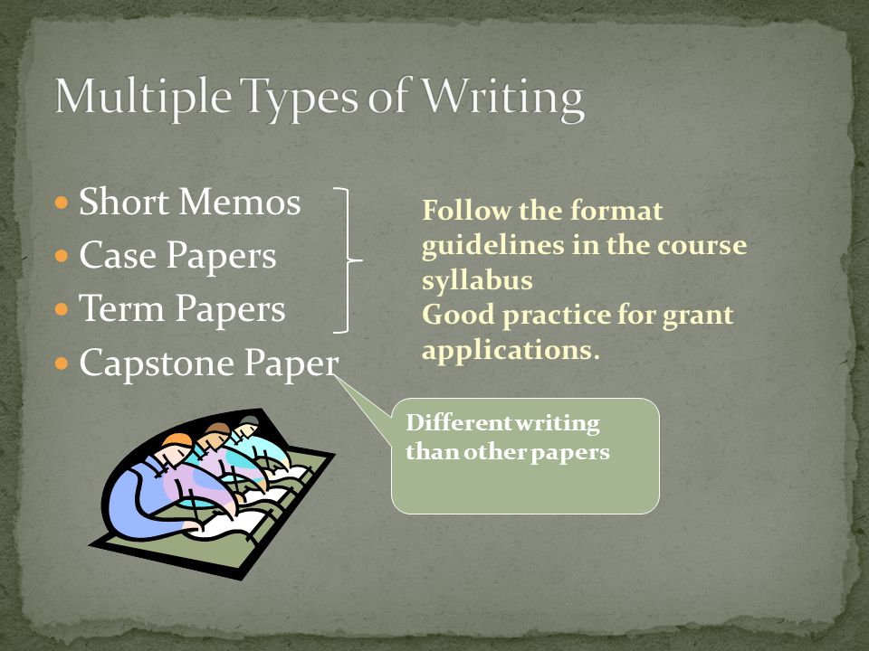 Short Memos Case Papers Term Papers Capstone Paper Follow the format guidelines in the course syllabus Good practice for grant applications.