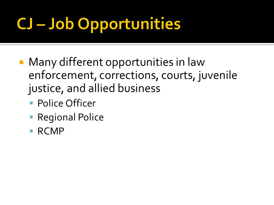  Many different opportunities in law enforcement, corrections, courts, juvenile justice, and allied business  Police Officer  Regional Police  RCM