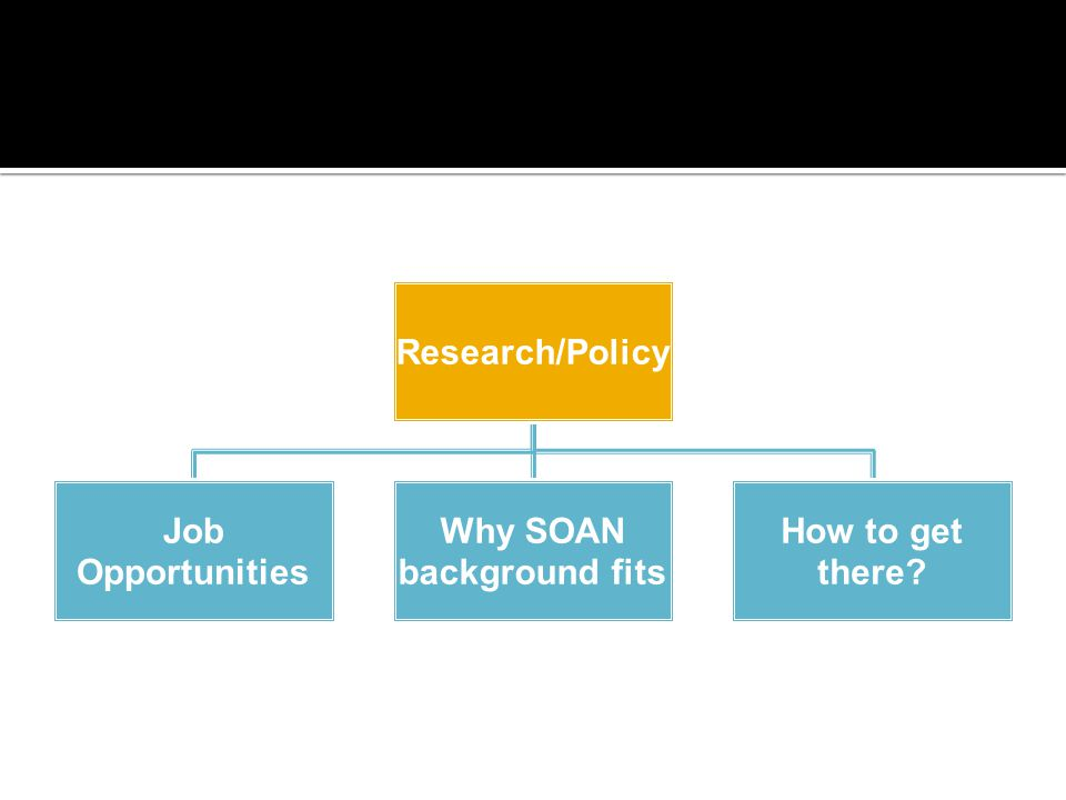 Research/Policy Job Opportunities Why SOAN background fits How to get there?