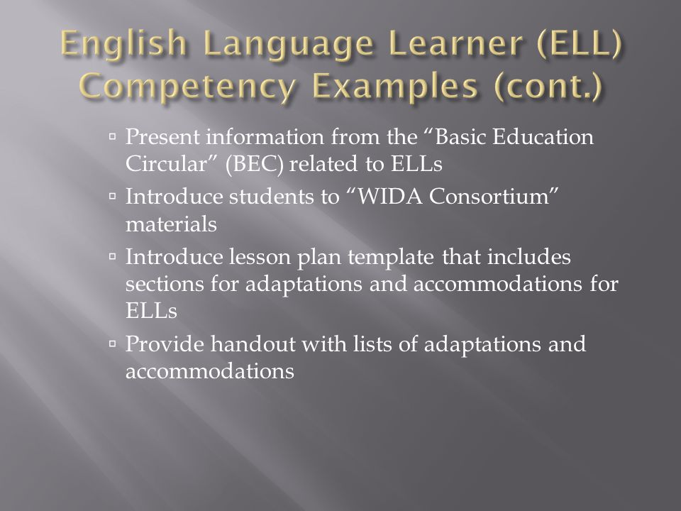 " Present information from the ""Basic Education Circular"" (BEC) related to ELLs  Introduce students to ""WIDA Consortium"" materials  Introduce lesson"